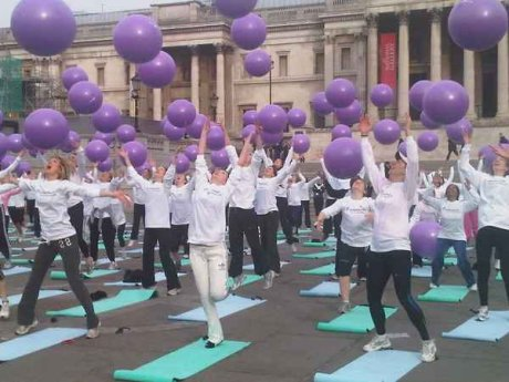 Fitball Class in Trafalgar Square